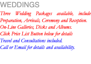 WEDDINGS Three Wedding Packages available, include Preparation, Arrivals, Ceremony and Reception. On-Line Galleries, Disks and Albums. Click Price List Button below for details Travel and Consultations included. Call or Email for details and availability.